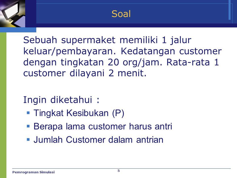 5 Soal Sebuah supermaket memiliki 1 jalur keluar/pembayaran. Kedatangan customer dengan tingkatan 20 org/jam. Rata-rata 1 customer dilayani 2 menit. I
