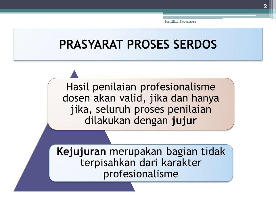 PRASYARAT PROSES SERDOS Hasil penilaian profesionalisme dosen akan valid, jika dan hanya jika, seluruh proses penilaian dilakukan dengan jujur Kejujur