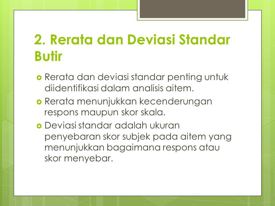 2. Rerata dan Deviasi Standar Butir  Rerata dan deviasi standar penting untuk diidentifikasi dalam analisis aitem.  Rerata menunjukkan kecenderungan