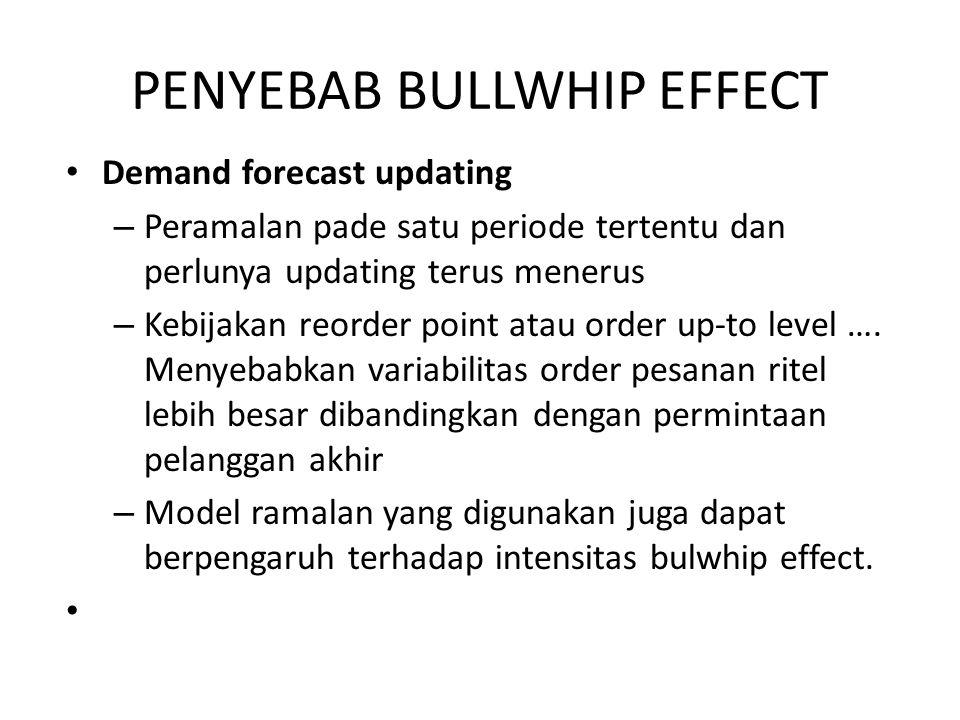 PENYEBAB BULLWHIP EFFECT Demand forecast updating – Peramalan pade satu periode tertentu dan perlunya updating terus menerus – Kebijakan reorder point