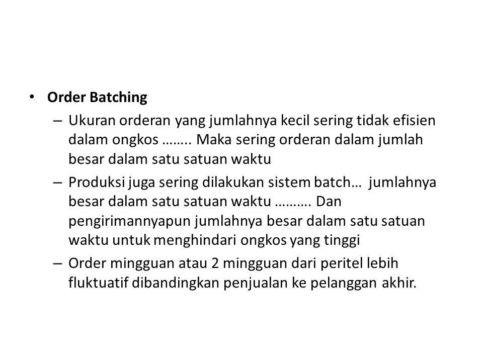 Order Batching – Ukuran orderan yang jumlahnya kecil sering tidak efisien dalam ongkos …….. Maka sering orderan dalam jumlah besar dalam satu satuan w
