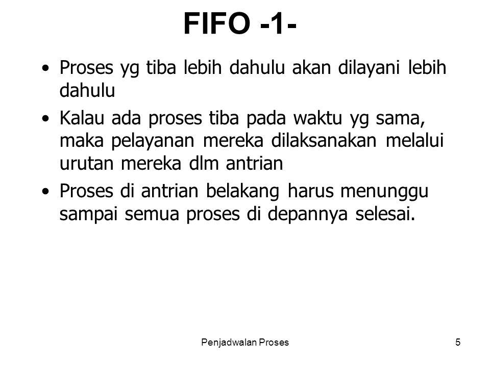 Penjadwalan Proses5 FIFO -1- Proses yg tiba lebih dahulu akan dilayani lebih dahulu Kalau ada proses tiba pada waktu yg sama, maka pelayanan mereka di