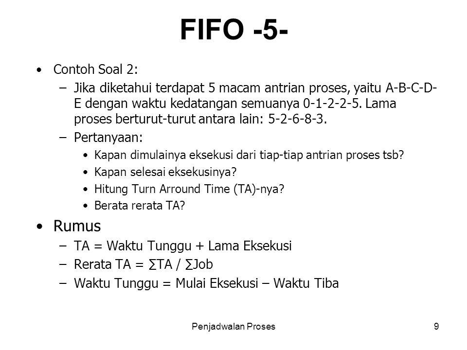 Penjadwalan Proses9 FIFO -5- Contoh Soal 2: –Jika diketahui terdapat 5 macam antrian proses, yaitu A-B-C-D- E dengan waktu kedatangan semuanya 0-1-2-2