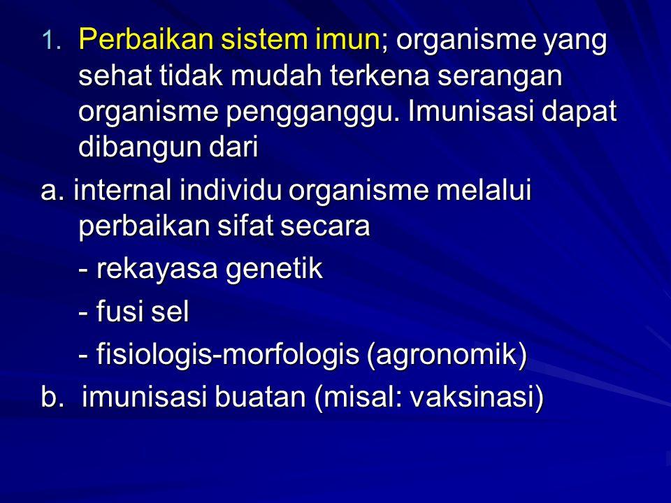 1. Perbaikan sistem imun; organisme yang sehat tidak mudah terkena serangan organisme pengganggu. Imunisasi dapat dibangun dari a. internal individu o