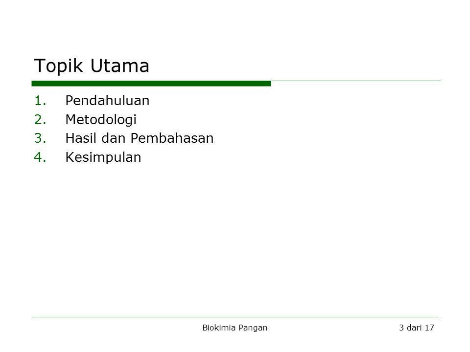 Biokimia Pangan3 dari 17 Topik Utama 1.Pendahuluan 2.Metodologi 3.Hasil dan Pembahasan 4.Kesimpulan