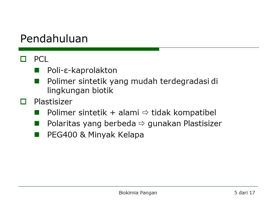 Biokimia Pangan5 dari 17 Pendahuluan B  PCL Poli-ε-kaprolakton Polimer sintetik yang mudah terdegradasi di lingkungan biotik  Plastisizer Polimer sintetik + alami  tidak kompatibel Polaritas yang berbeda  gunakan Plastisizer PEG400 & Minyak Kelapa