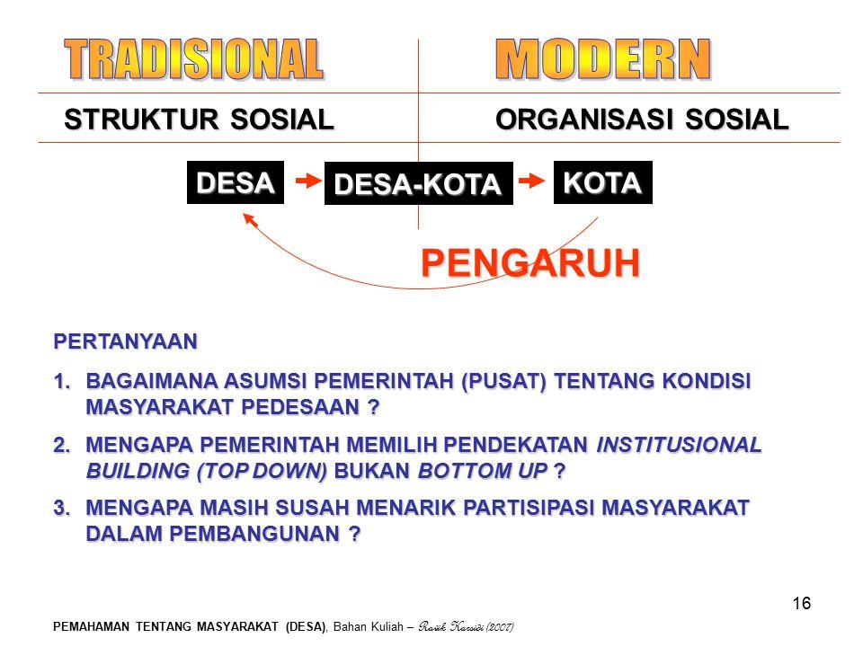 PEMAHAMAN TENTANG MASYARAKAT (DESA), Bahan Kuliah – Ravik Karsidi (2007) 16 PENGARUH STRUKTUR SOSIALORGANISASI SOSIAL DESA-KOTA KOTADESA PERTANYAAN 1.