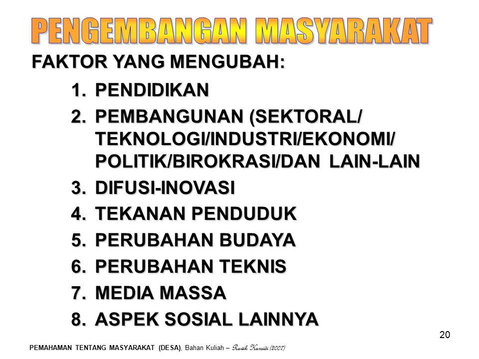 PEMAHAMAN TENTANG MASYARAKAT (DESA), Bahan Kuliah – Ravik Karsidi (2007) 20 FAKTOR YANG MENGUBAH: 1.PENDIDIKAN 2.PEMBANGUNAN (SEKTORAL/ TEKNOLOGI/INDU