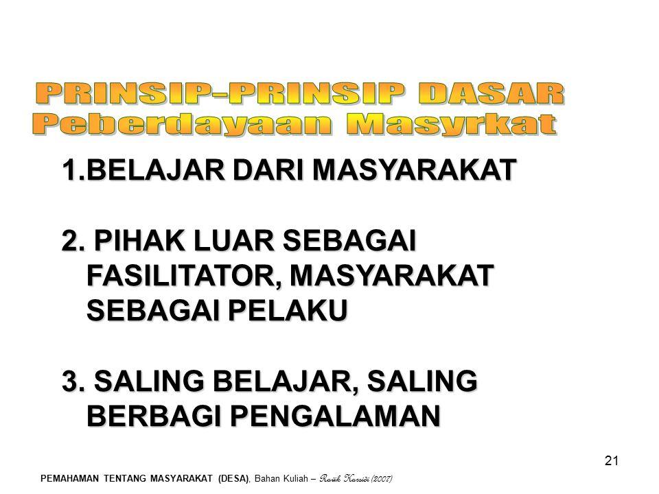 PEMAHAMAN TENTANG MASYARAKAT (DESA), Bahan Kuliah – Ravik Karsidi (2007) 21 1.BELAJAR DARI MASYARAKAT 2. PIHAK LUAR SEBAGAI FASILITATOR, MASYARAKAT SE