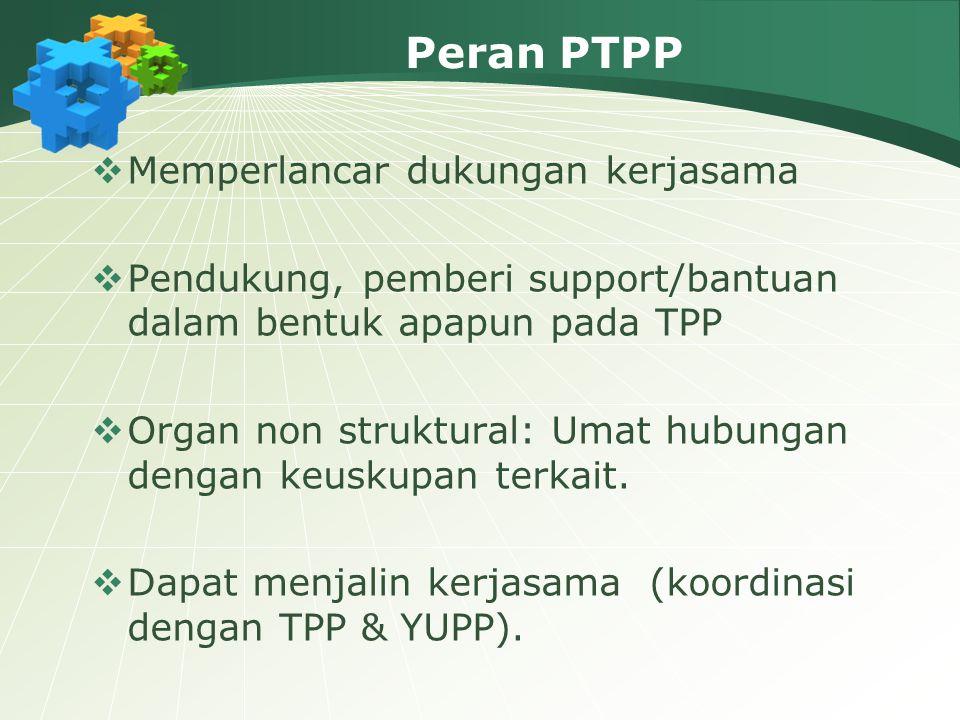 Peran PTPP  Memperlancar dukungan kerjasama  Pendukung, pemberi support/bantuan dalam bentuk apapun pada TPP  Organ non struktural: Umat hubungan d