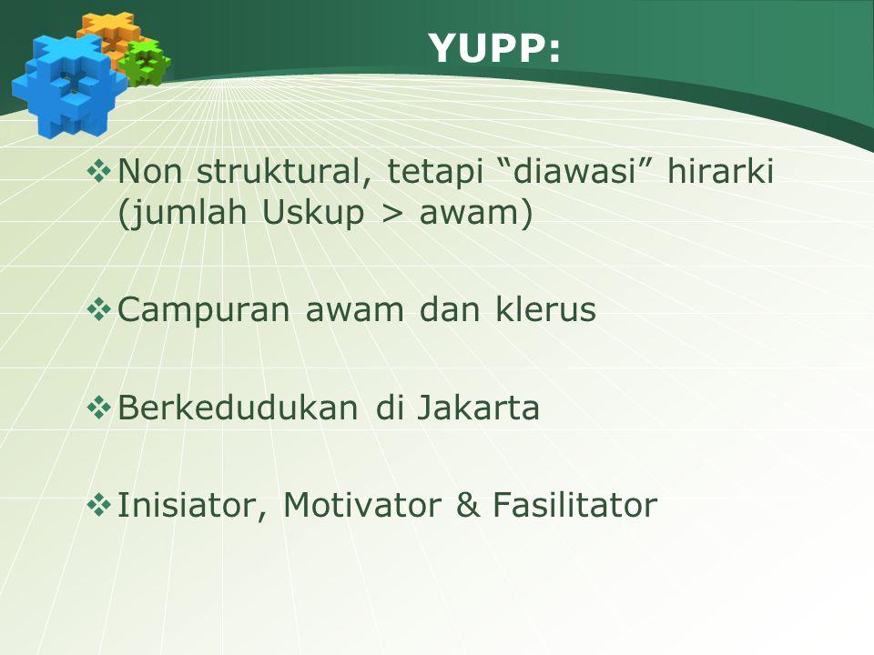 """YUPP:  Non struktural, tetapi """"diawasi"""" hirarki (jumlah Uskup > awam)  Campuran awam dan klerus  Berkedudukan di Jakarta  Inisiator, Motivator & F"""