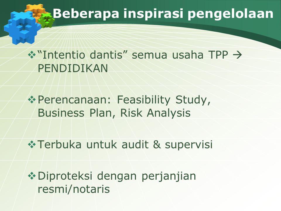 """Beberapa inspirasi pengelolaan  """"Intentio dantis"""" semua usaha TPP  PENDIDIKAN  Perencanaan: Feasibility Study, Business Plan, Risk Analysis  Terbu"""