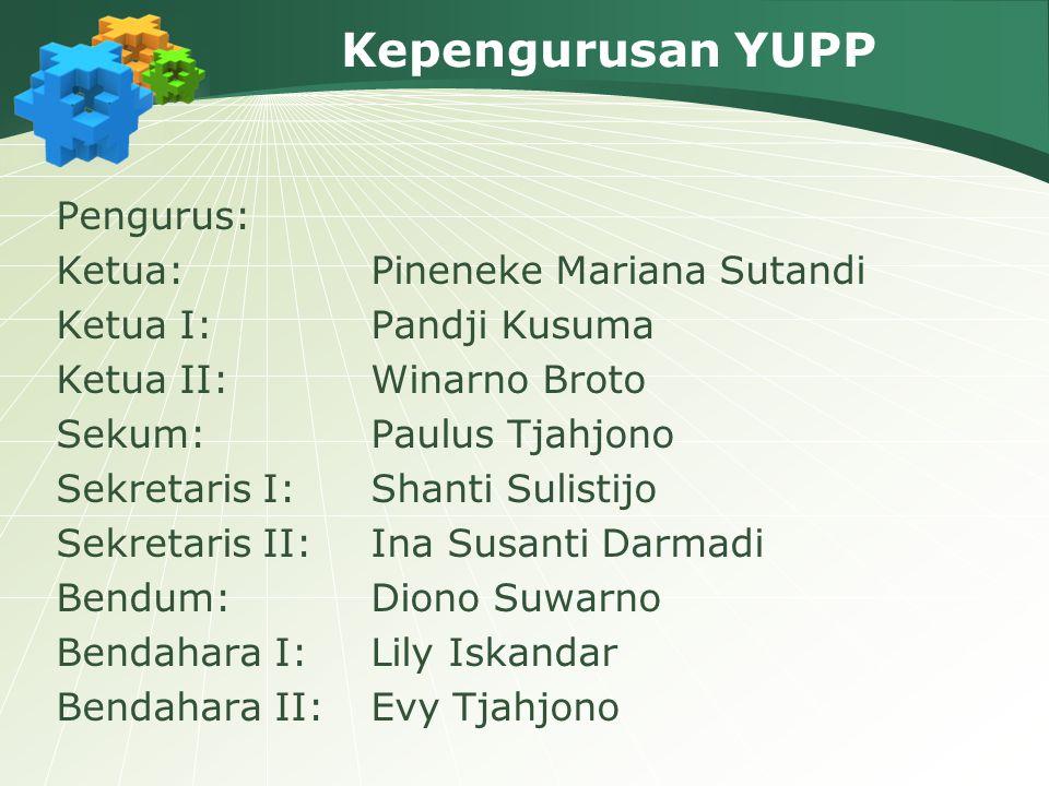 Kepengurusan YUPP Pengurus: Ketua:Pineneke Mariana Sutandi Ketua I:Pandji Kusuma Ketua II:Winarno Broto Sekum:Paulus Tjahjono Sekretaris I:Shanti Suli