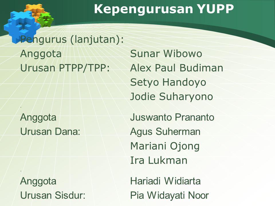 Kepengurusan YUPP Pengurus (lanjutan): Anggota Sunar Wibowo Urusan PTPP/TPP:Alex Paul Budiman Setyo Handoyo Jodie Suharyono. Anggota Juswanto Prananto