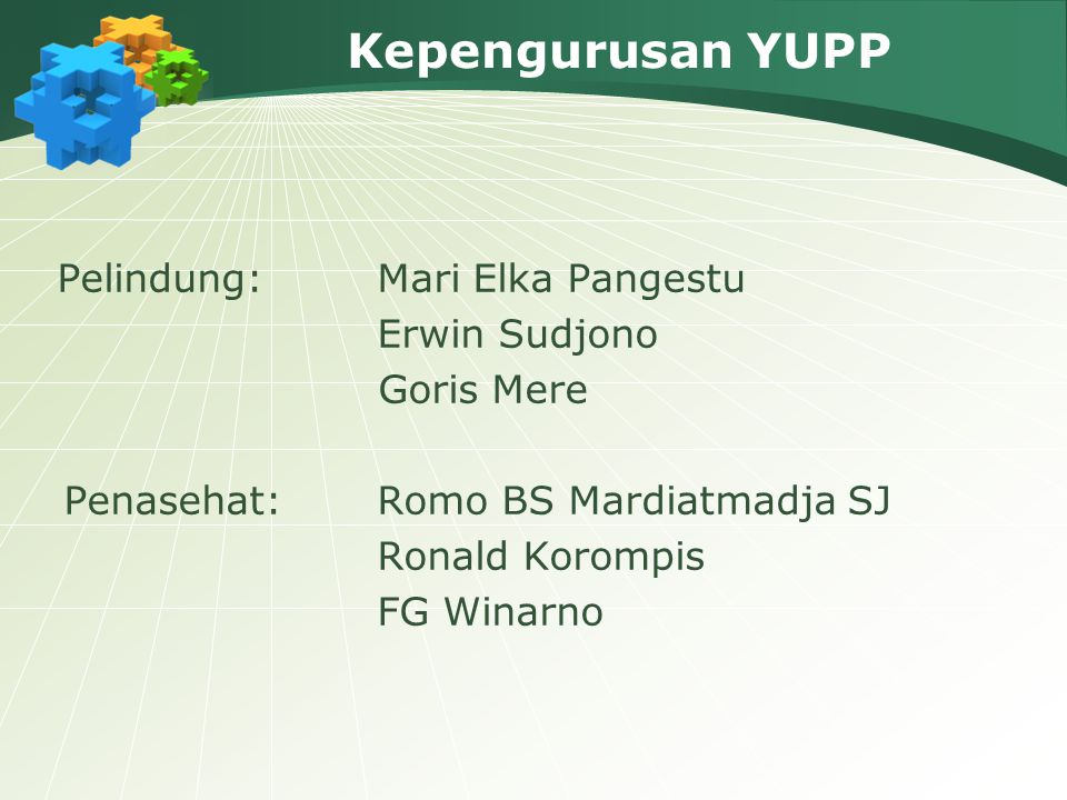 Kepengurusan YUPP Pelindung:Mari Elka Pangestu Erwin Sudjono Goris Mere Penasehat: Romo BS Mardiatmadja SJ Ronald Korompis FG Winarno