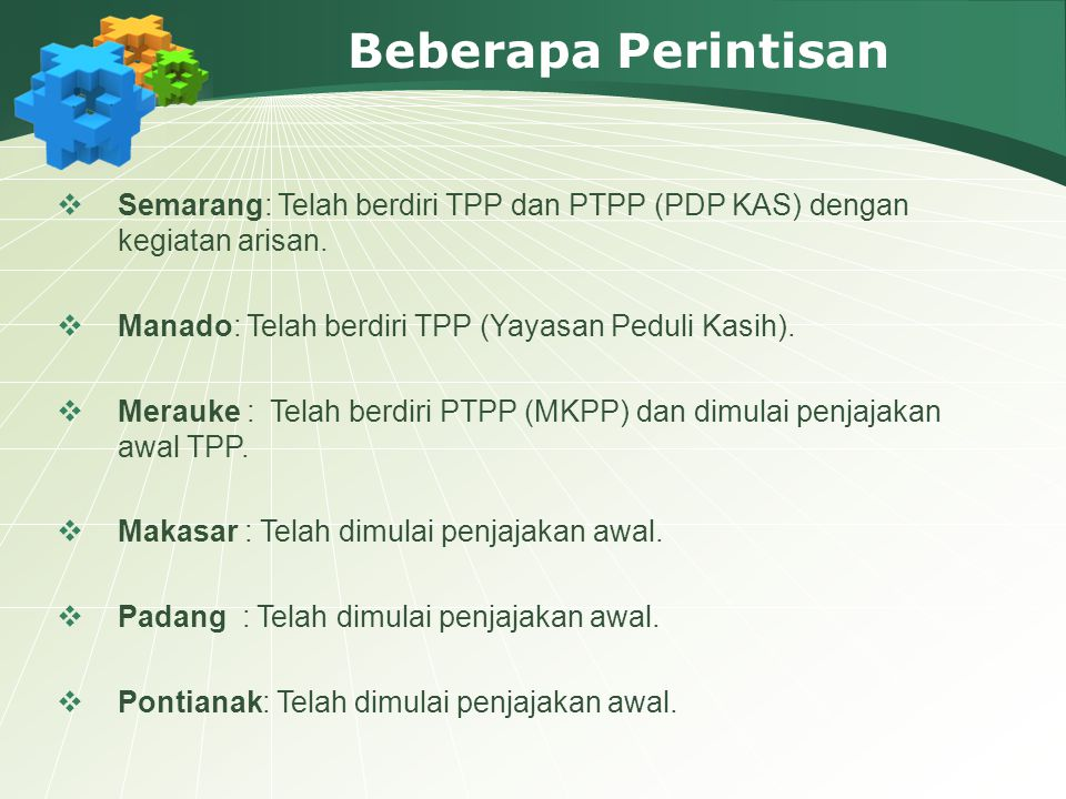 Beberapa Perintisan  Semarang: Telah berdiri TPP dan PTPP (PDP KAS) dengan kegiatan arisan.  Manado: Telah berdiri TPP (Yayasan Peduli Kasih).  Mer
