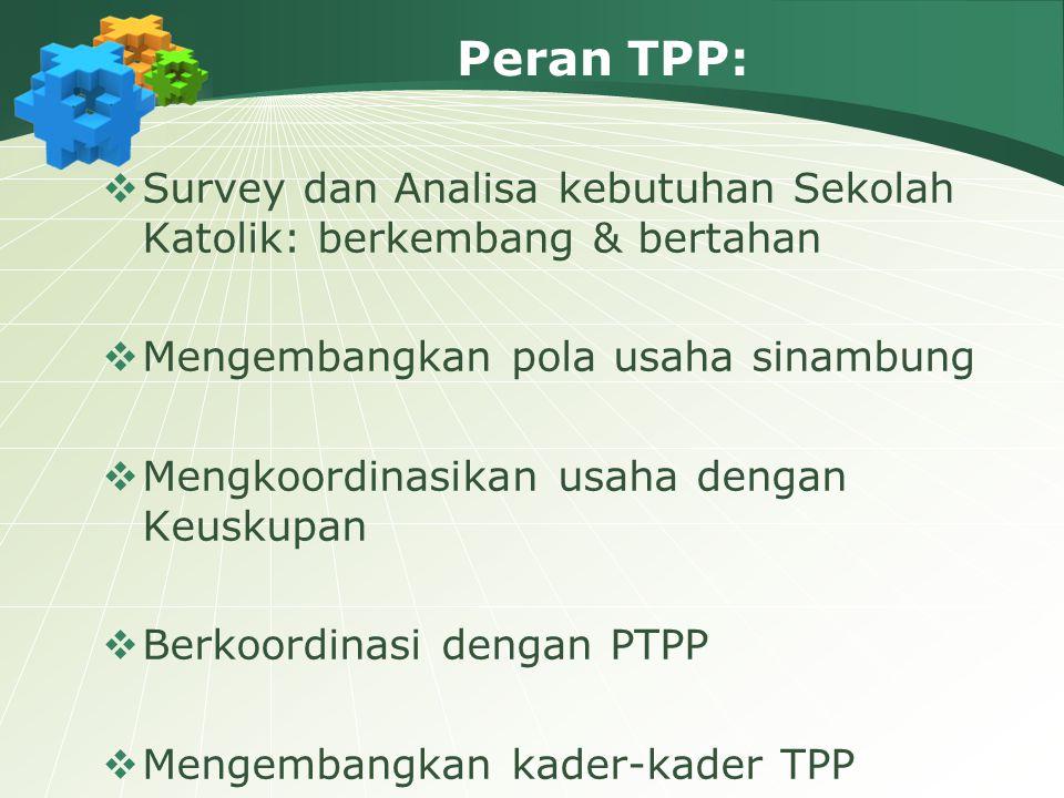 Peran TPP:  Survey dan Analisa kebutuhan Sekolah Katolik: berkembang & bertahan  Mengembangkan pola usaha sinambung  Mengkoordinasikan usaha dengan