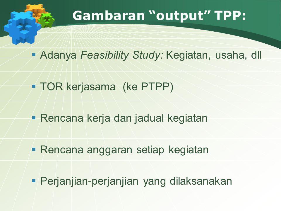 "Gambaran ""output"" TPP:  Adanya Feasibility Study: Kegiatan, usaha, dll  TOR kerjasama (ke PTPP)  Rencana kerja dan jadual kegiatan  Rencana anggar"