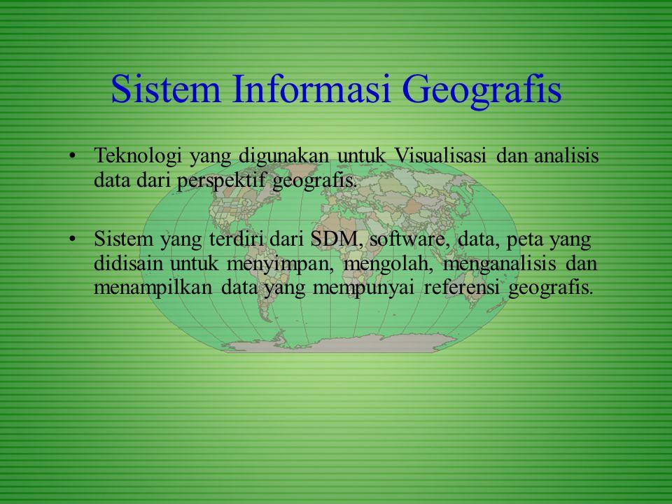 Sistem Informasi Geografis Teknologi yang digunakan untuk Visualisasi dan analisis data dari perspektif geografis. Sistem yang terdiri dari SDM, softw