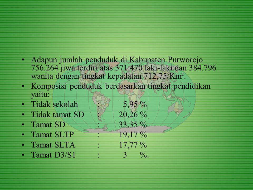 Adapun jumlah penduduk di Kabupaten Purworejo 756.264 jiwa terdiri atas 371.470 laki-laki dan 384.796 wanita dengan tingkat kepadatan 712,75/Km².
