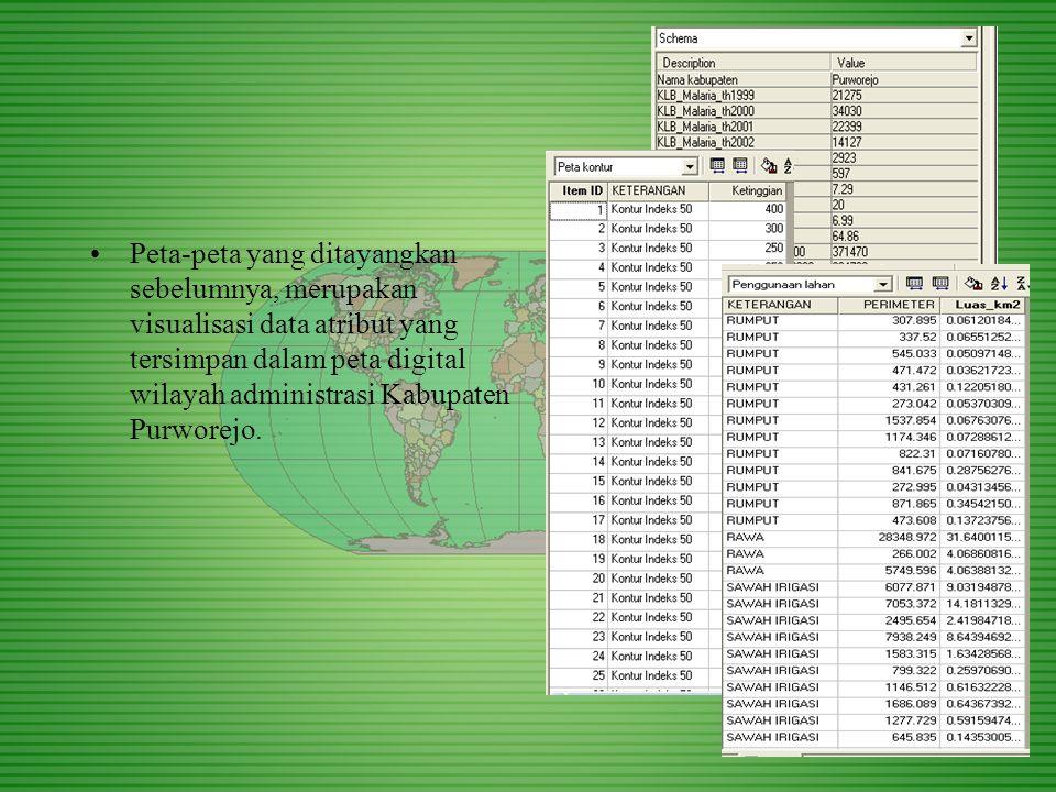 Peta-peta yang ditayangkan sebelumnya, merupakan visualisasi data atribut yang tersimpan dalam peta digital wilayah administrasi Kabupaten Purworejo.