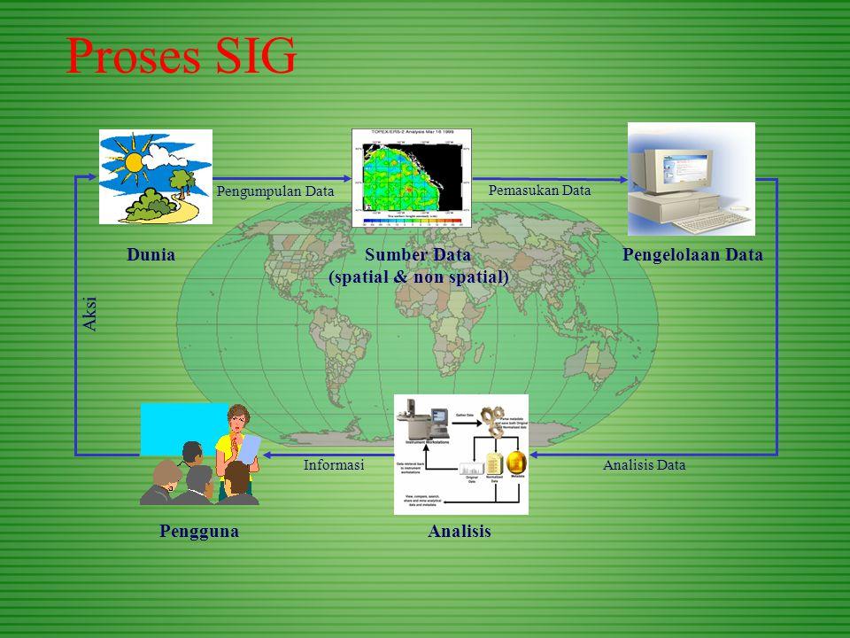 Proses SIG DuniaSumber Data (spatial & non spatial) PenggunaAnalisis Pengelolaan Data Pengumpulan Data Pemasukan Data Analisis DataInformasi Aksi