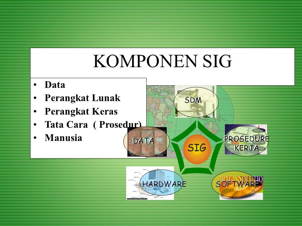 SIG dijadikan alat bantu pengelolaan –Integrasi Analisis Keruangan dan Atribut –Simulasi Analisis –Perencanaan Menyeluruh –Memudahkan pemutakhiran –Menekan biaya secara keseluruhan