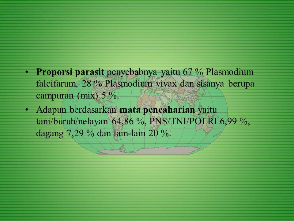Proporsi parasit penyebabnya yaitu 67 % Plasmodium falcifarum, 28 % Plasmodium vivax dan sisanya berupa campuran (mix) 5 %. Adapun berdasarkan mata pe