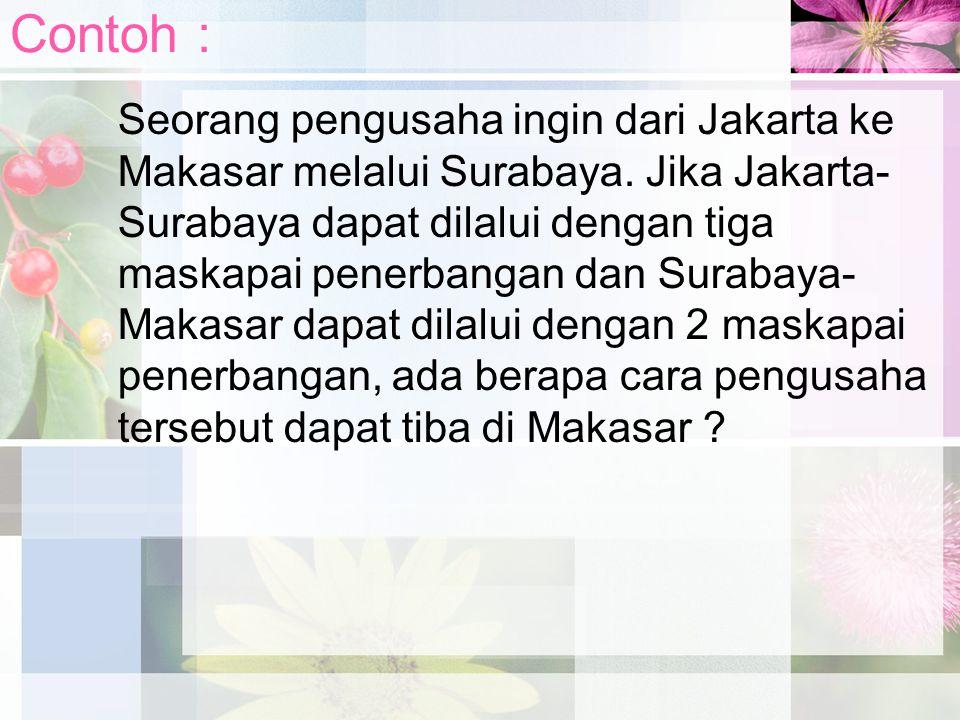Contoh : Seorang pengusaha ingin dari Jakarta ke Makasar melalui Surabaya. Jika Jakarta- Surabaya dapat dilalui dengan tiga maskapai penerbangan dan S