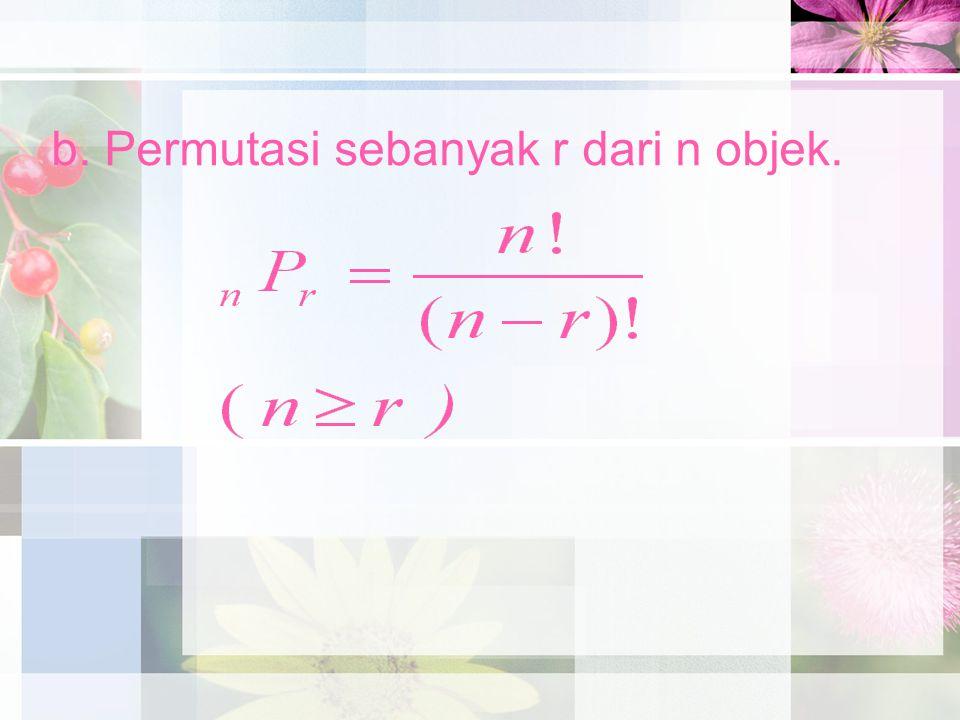b. Permutasi sebanyak r dari n objek.