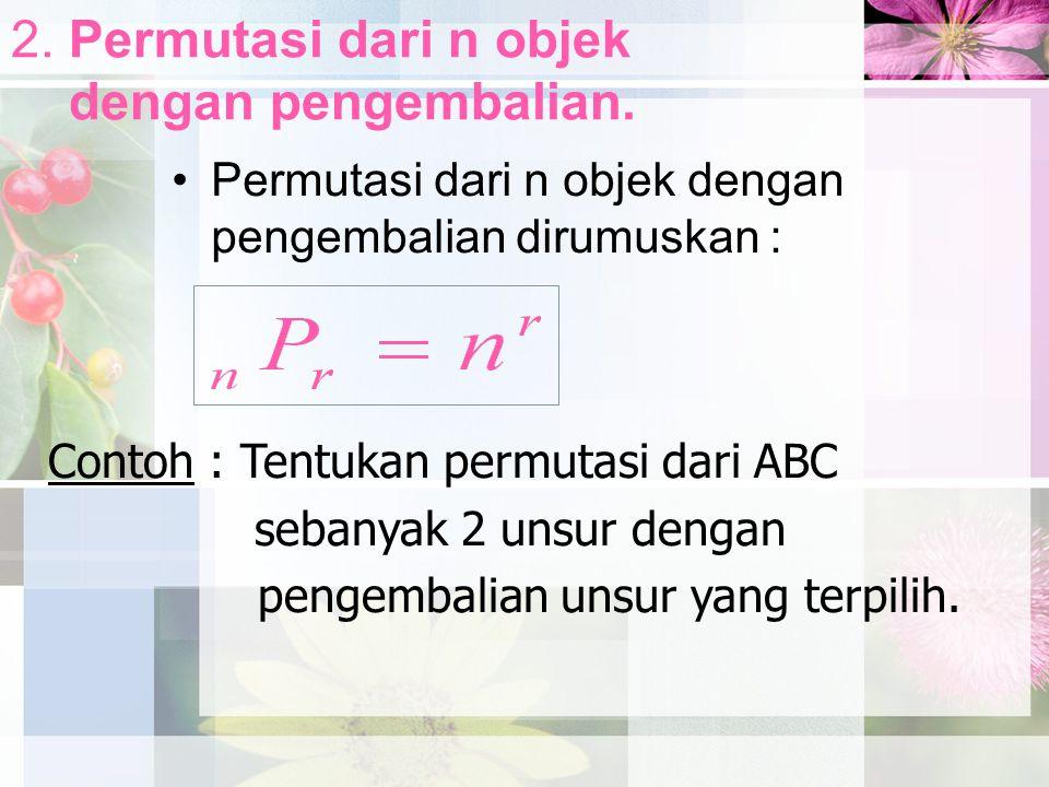 2. Permutasi dari n objek dengan pengembalian. Permutasi dari n objek dengan pengembalian dirumuskan : Contoh : Tentukan permutasi dari ABC sebanyak 2