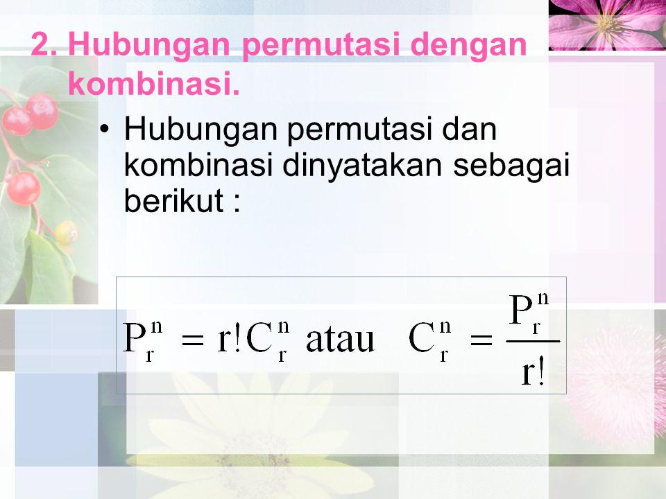 2. Hubungan permutasi dengan kombinasi. Hubungan permutasi dan kombinasi dinyatakan sebagai berikut :