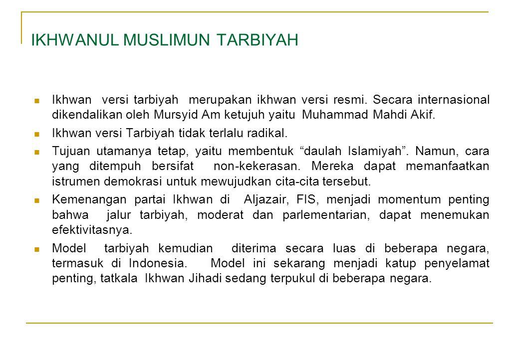 Ikhwan versi tarbiyah merupakan ikhwan versi resmi. Secara internasional dikendalikan oleh Mursyid Am ketujuh yaitu Muhammad Mahdi Akif. Ikhwan versi