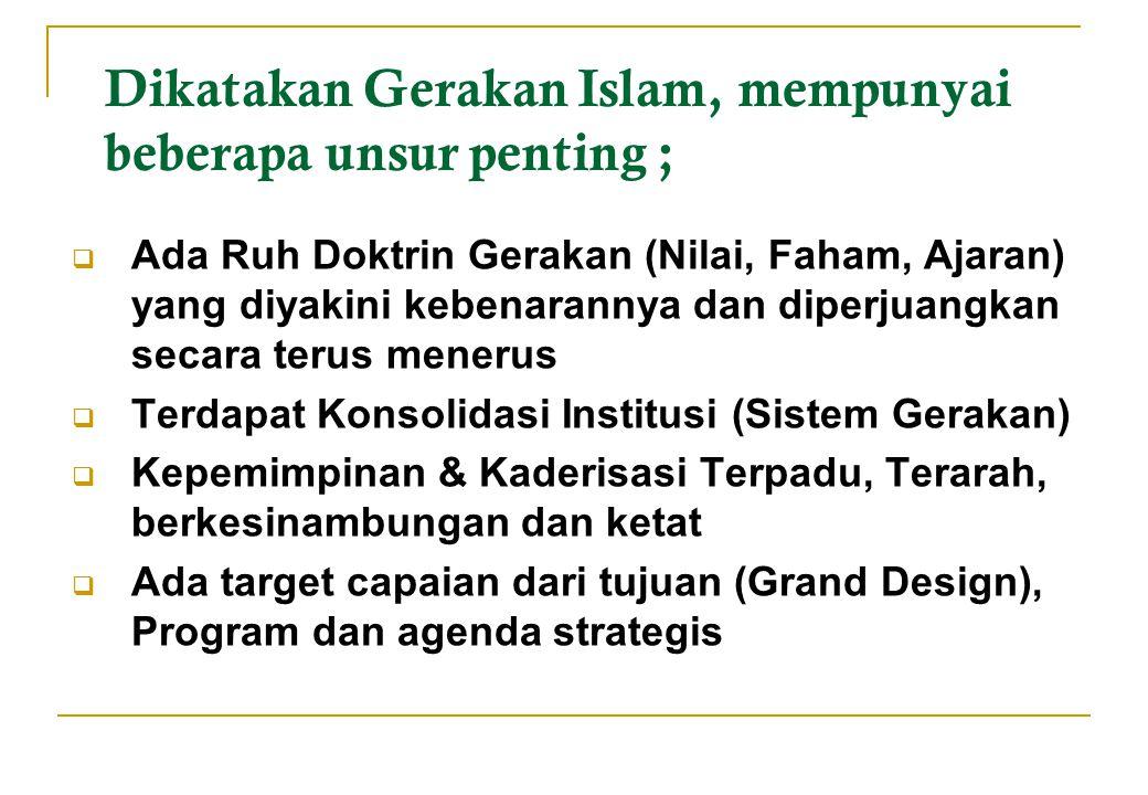 Dikatakan Gerakan Islam, mempunyai beberapa unsur penting ;  Ada Ruh Doktrin Gerakan (Nilai, Faham, Ajaran) yang diyakini kebenarannya dan diperjuang