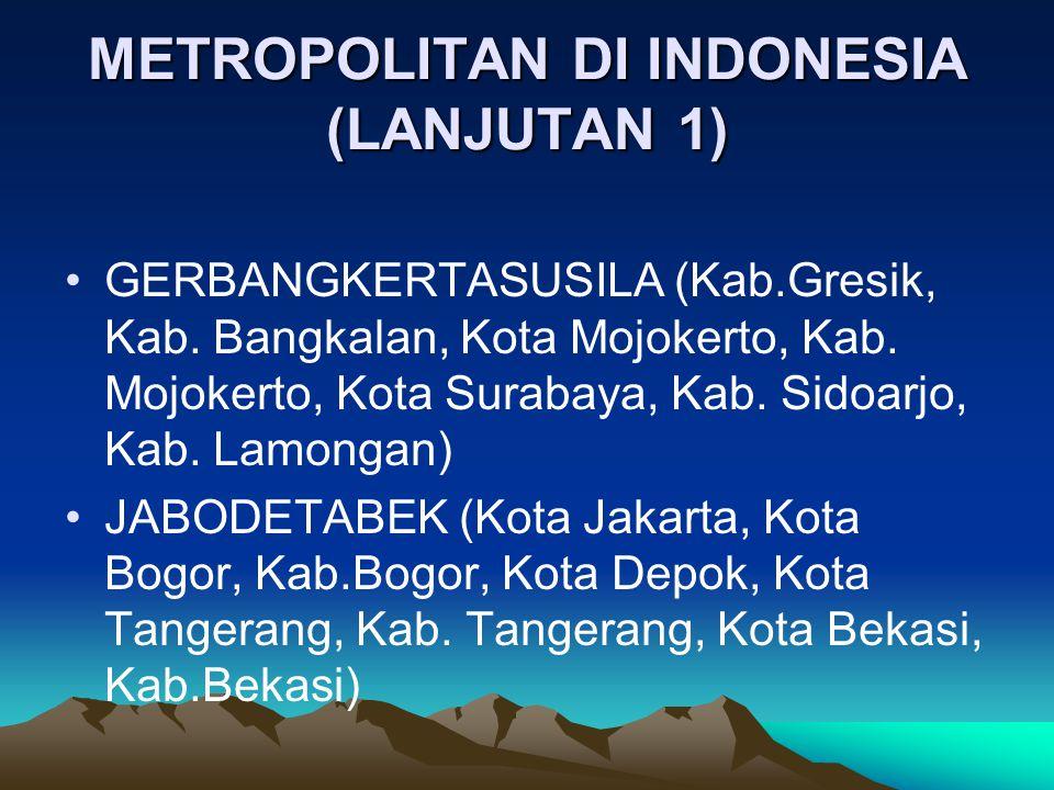METROPOLITAN DI INDONESIA (LANJUTAN 1) GERBANGKERTASUSILA (Kab.Gresik, Kab. Bangkalan, Kota Mojokerto, Kab. Mojokerto, Kota Surabaya, Kab. Sidoarjo, K
