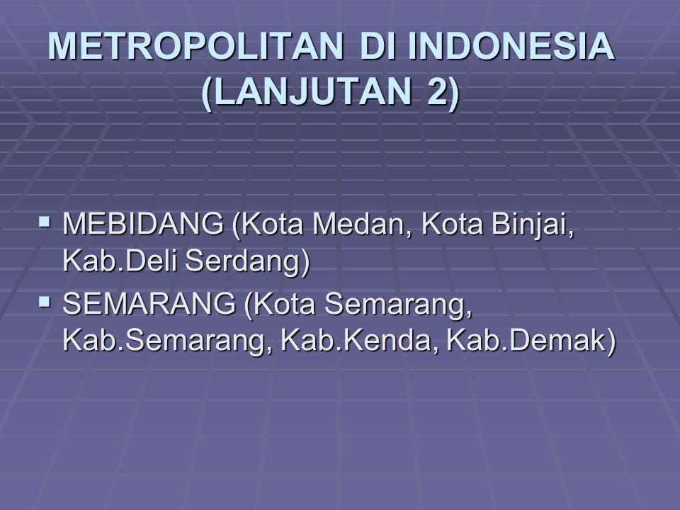 METROPOLITAN DI INDONESIA (LANJUTAN 2)  MEBIDANG (Kota Medan, Kota Binjai, Kab.Deli Serdang)  SEMARANG (Kota Semarang, Kab.Semarang, Kab.Kenda, Kab.