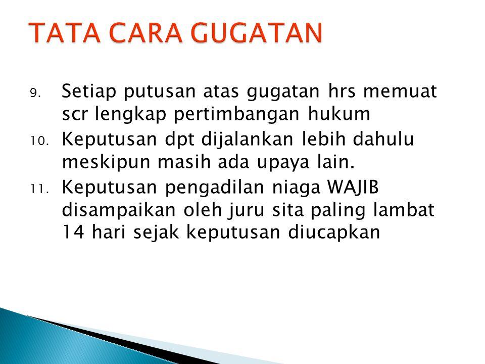 9. Setiap putusan atas gugatan hrs memuat scr lengkap pertimbangan hukum 10.