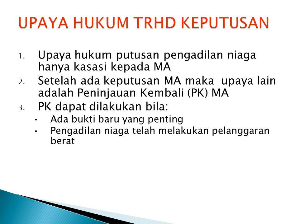 1. Upaya hukum putusan pengadilan niaga hanya kasasi kepada MA 2.