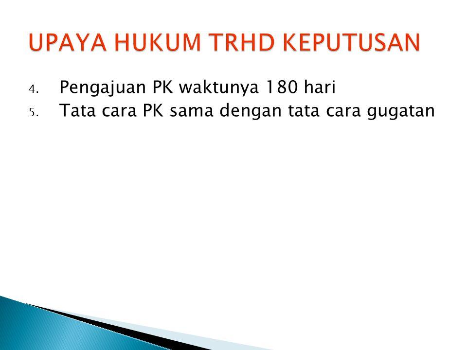 4. Pengajuan PK waktunya 180 hari 5. Tata cara PK sama dengan tata cara gugatan