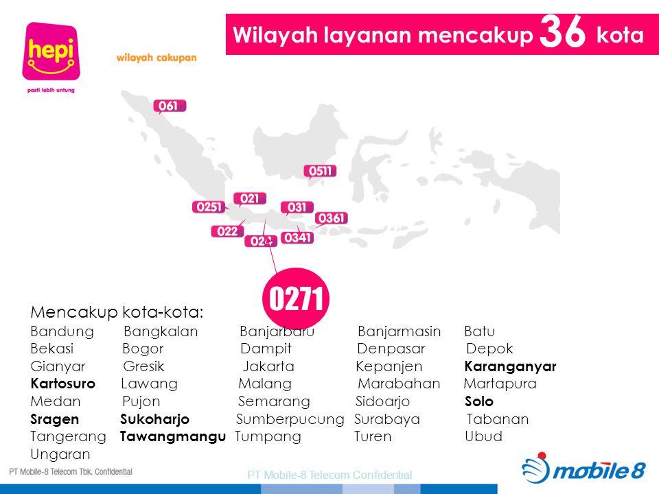 PT Mobile-8 Telecom Confidential 0271 Wilayah layanan mencakup kota 36 Mencakup kota-kota: Bandung Bangkalan Banjarbaru Banjarmasin Batu Bekasi Bogor
