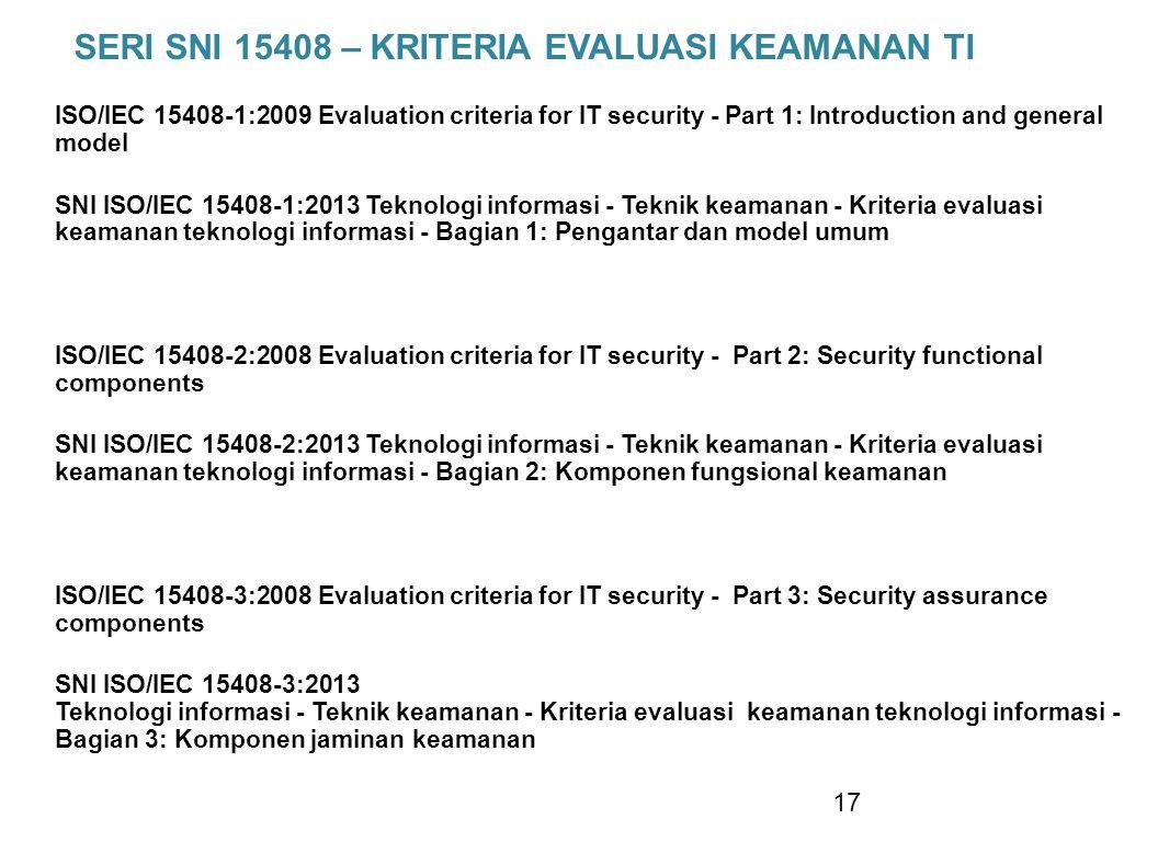 SERI SNI 15408 – KRITERIA EVALUASI KEAMANAN TI ISO/IEC 15408-1:2009 Evaluation criteria for IT security - Part 1: Introduction and general model SNI I