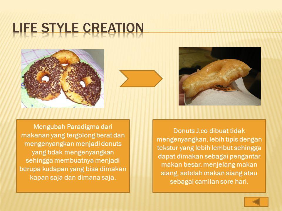 Mengubah Paradigma dari makanan yang tergolong berat dan mengenyangkan menjadi donuts yang tidak mengenyangkan sehingga membuatnya menjadi berupa kudapan yang bisa dimakan kapan saja dan dimana saja.