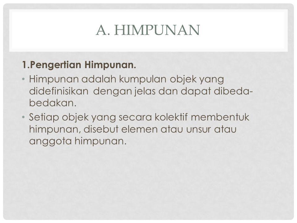 A.HIMPUNAN 1.Pengertian Himpunan.