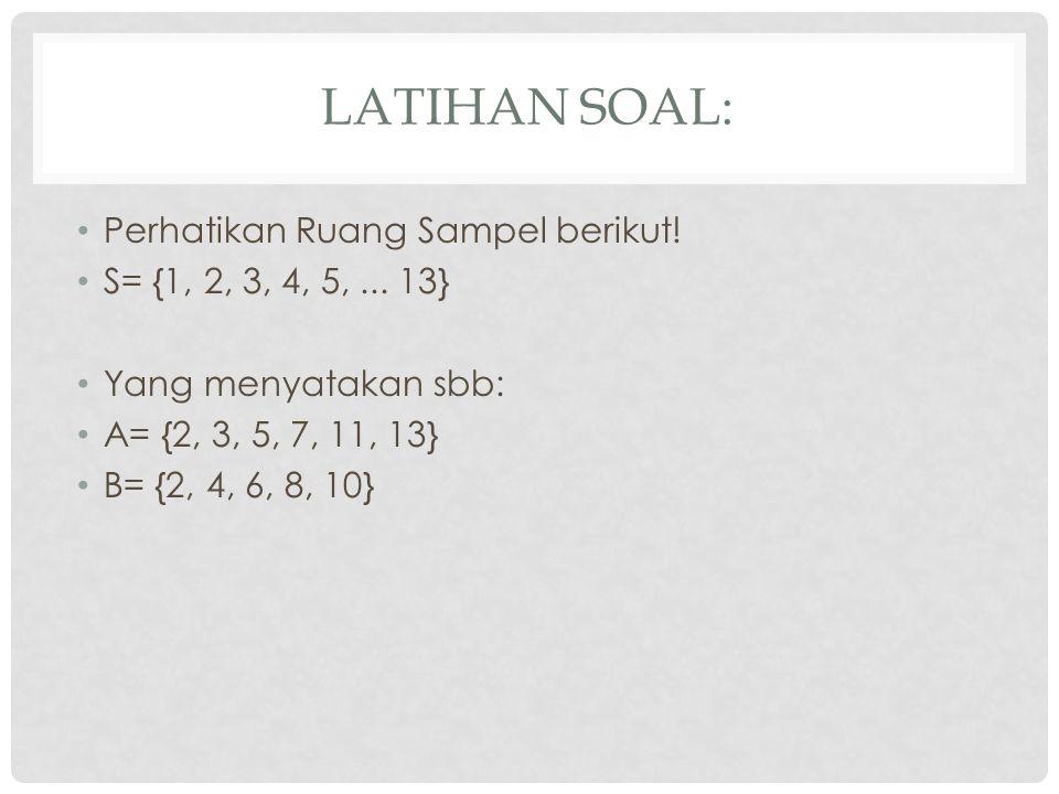 LATIHAN SOAL: Perhatikan Ruang Sampel berikut.S= {1, 2, 3, 4, 5,...