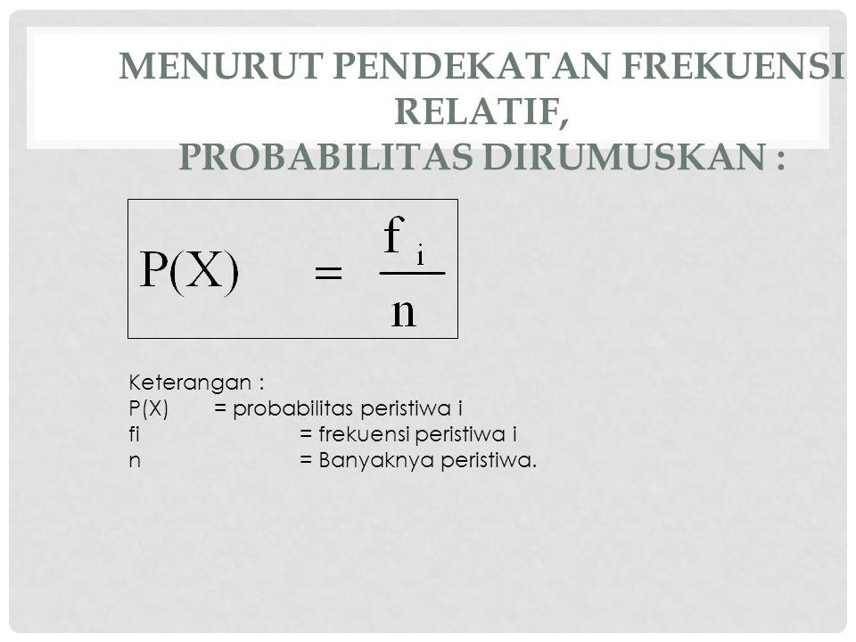 MENURUT PENDEKATAN FREKUENSI RELATIF, PROBABILITAS DIRUMUSKAN : Keterangan : P(X)= probabilitas peristiwa i fi= frekuensi peristiwa i n= Banyaknya peristiwa.