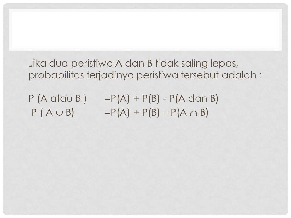 Jika dua peristiwa A dan B tidak saling lepas, probabilitas terjadinya peristiwa tersebut adalah : P (A atau B )=P(A) + P(B) - P(A dan B) P ( A  B) =P(A) + P(B) – P(A  B)