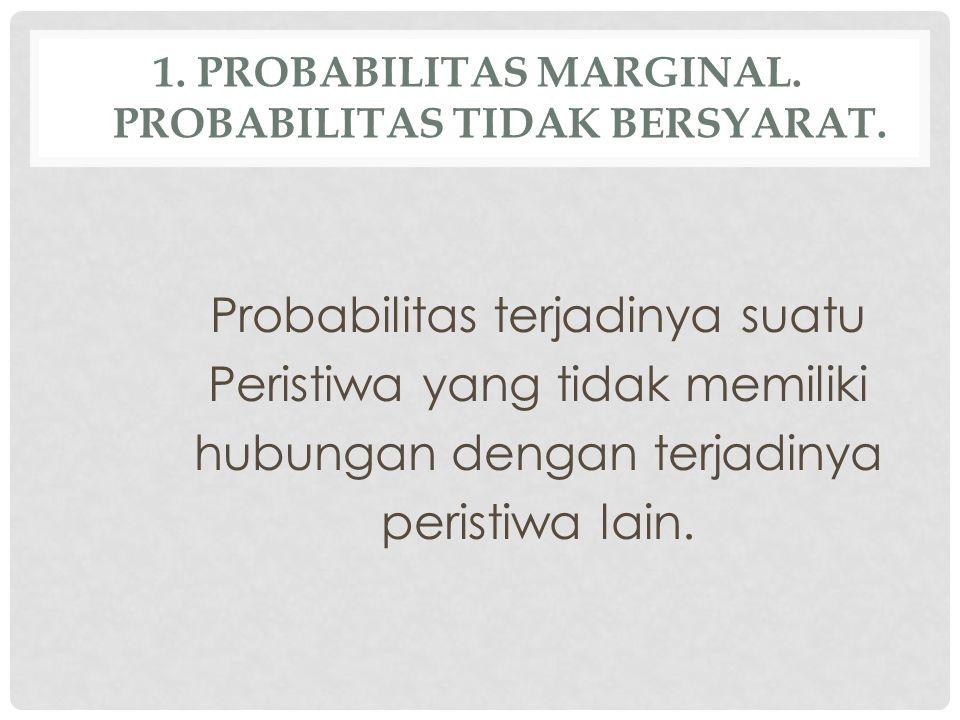 1.PROBABILITAS MARGINAL. PROBABILITAS TIDAK BERSYARAT.