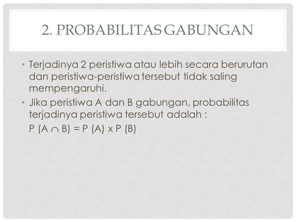 2. PROBABILITAS GABUNGAN Terjadinya 2 peristiwa atau lebih secara berurutan dan peristiwa-peristiwa tersebut tidak saling mempengaruhi. Jika peristiwa