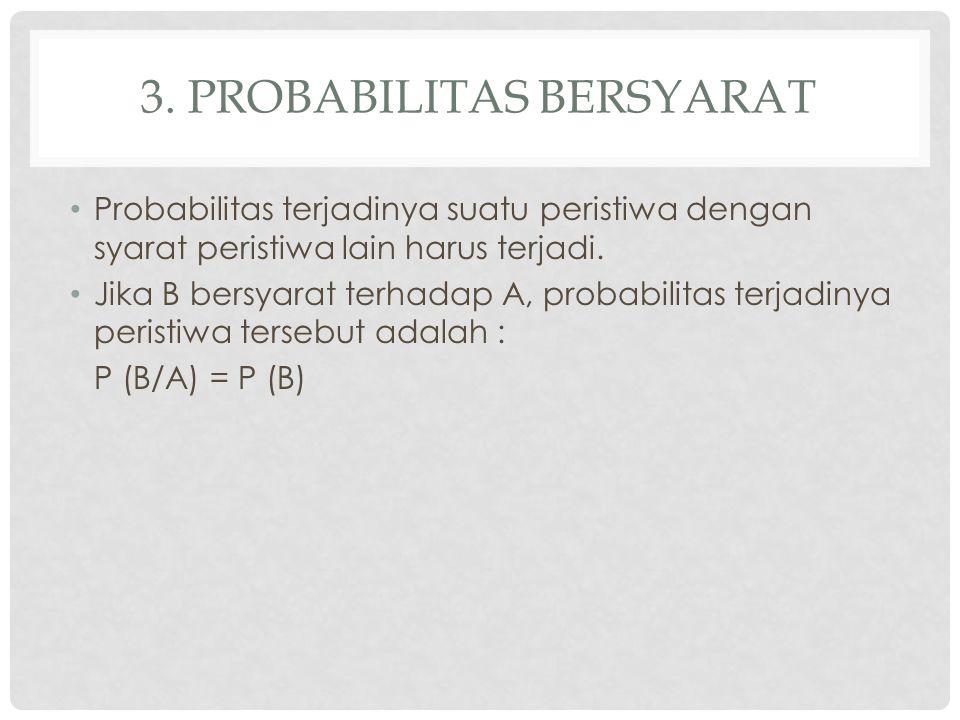3. PROBABILITAS BERSYARAT Probabilitas terjadinya suatu peristiwa dengan syarat peristiwa lain harus terjadi. Jika B bersyarat terhadap A, probabilita