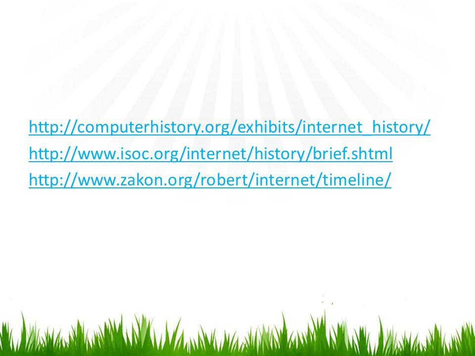 http://computerhistory.org/exhibits/internet_history/ http://www.isoc.org/internet/history/brief.shtml http://www.zakon.org/robert/internet/timeline/